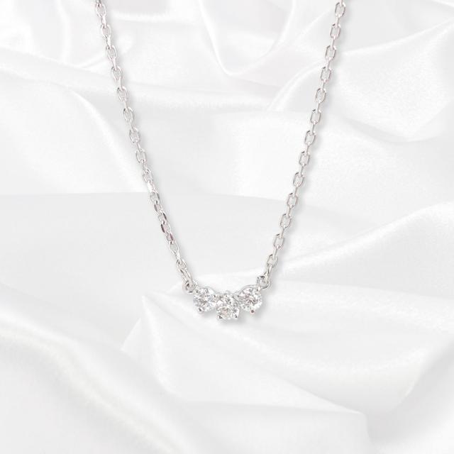 【kikira】Three Stone Necklace 3粒ストーンネックレス WH kkr-008-1