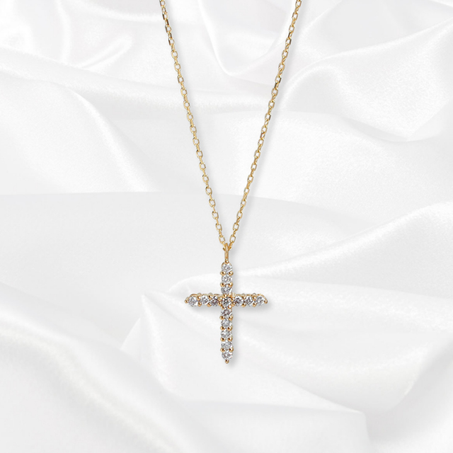 【kikira】Cross Necklace クロスネックレス GD kkr-009-2