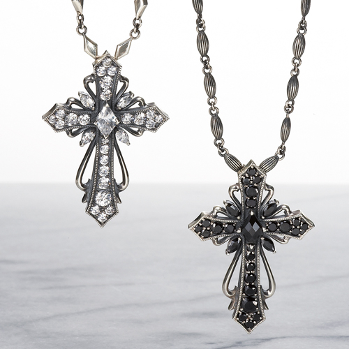 【DUB Luxury|ラグジュアリーダブ】Antique cross pendant(Pair) ペンダント【OD-201-202(BK&WH)】
