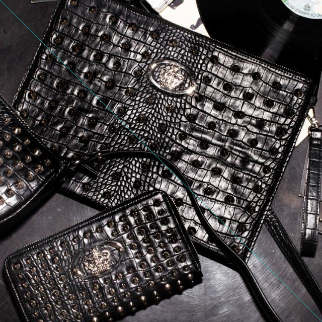 【DUB Collection】桜井莉菜model Studs Long Wallet&Studs Clutch Bag スタッズロングウォレット&スタッズクラッチバッグ【DUB-C071-1-C073-1】