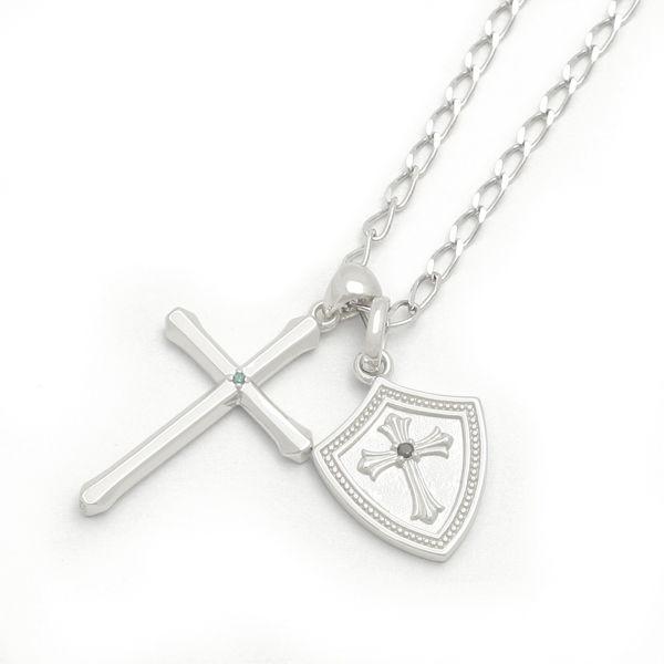 【Royal Stag Zest| ロイヤルスタッグ ゼスト】 シルバー ネックレス メンズ クロス 十字架 ダイヤ ブラックCZ SN25-027