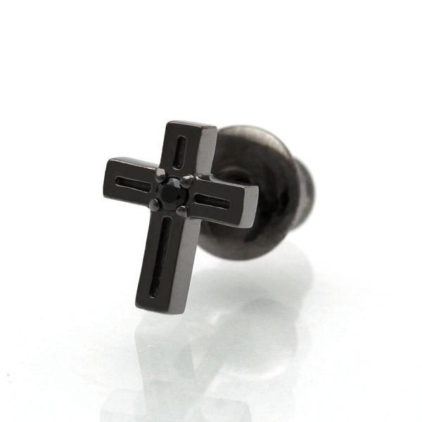 【Royal Stag ZEST|ロイヤルスタッグゼスト】 クロス 十字架 シルバー ピアス シングル ブラック メンズ アクセサリー SP25-017 【メンズ】