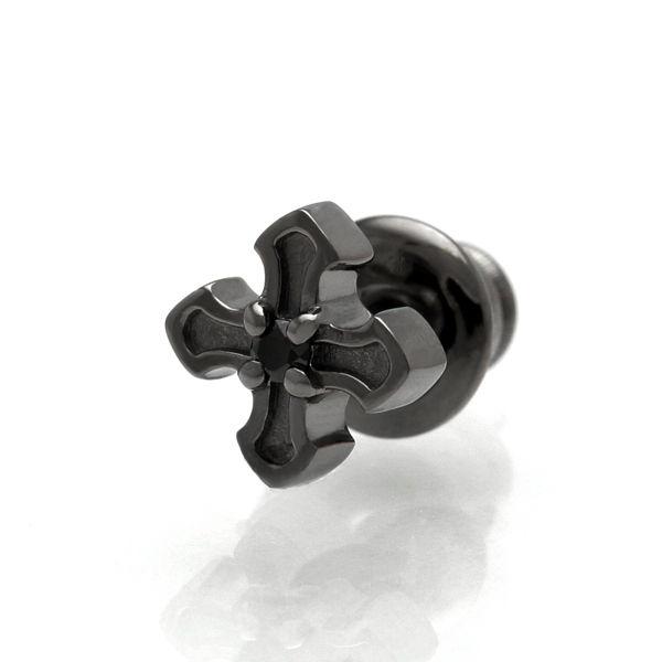 【Royal Stag ZEST|ロイヤルスタッグゼスト】 ゼスト クロス 十字架 シルバー ピアス シングル ブラック メンズ アクセサリー SP25-018 【メンズ】