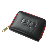 【DUB GOODS|ダブグッズ】DUB Leather Coin Cese コインケース(ブラック×レッド)|DUB-W002-2RD
