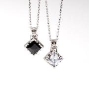 "【DUB Collection|ダブコレクション】Side emblem stone""square"" Pair Necklace サイド エンブレム ストーン スクエア ペア ネックレス DUBj-206-pair【ペア】"