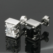 "【納期:約1ヶ月〜2ヶ月】【DUB Collection|ダブコレクション】Side Emblem Stone ""rectangle"" Pierce DUBj-236-1-2(BK&WH)【ペア】"