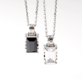 "【DUB Collection|ダブコレクション】Side emblem stone""rectangle""Necklace DUBj-205 pair BK/WH【送料・代引き手数料無料】"