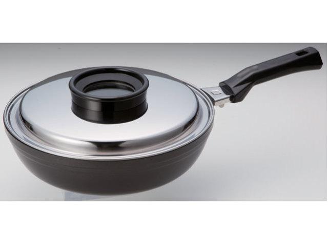 遠赤外線チャイナパン(窓付ステンレス蓋付)《スーパーラジエントヒーターに最適!熱効率に優れた専用鍋!》