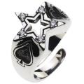 cenote r0355 【シルバーアクセサリー】 五芒星トランプリング ホワイトジルコニア