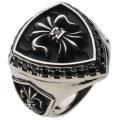 cenote r5050 【ホワイトメタルアクセサリー】 百合の紋章シールドリング ブラックジルコニア