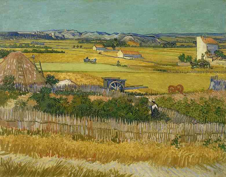 クロー平野の収穫、背景にモンマジュール