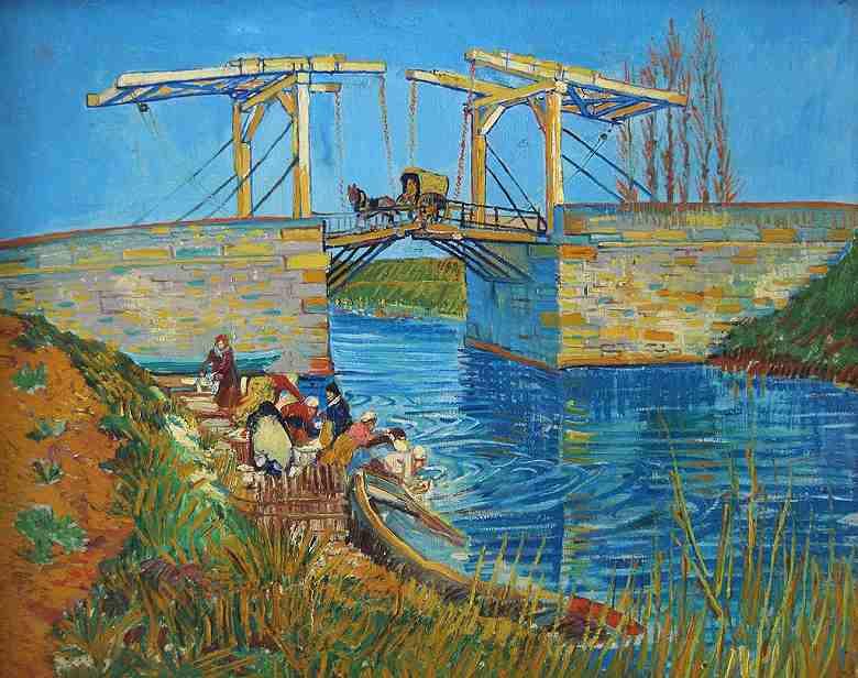 アルルの跳ね橋 (アルルのラングロワ橋と洗濯する女性たち)