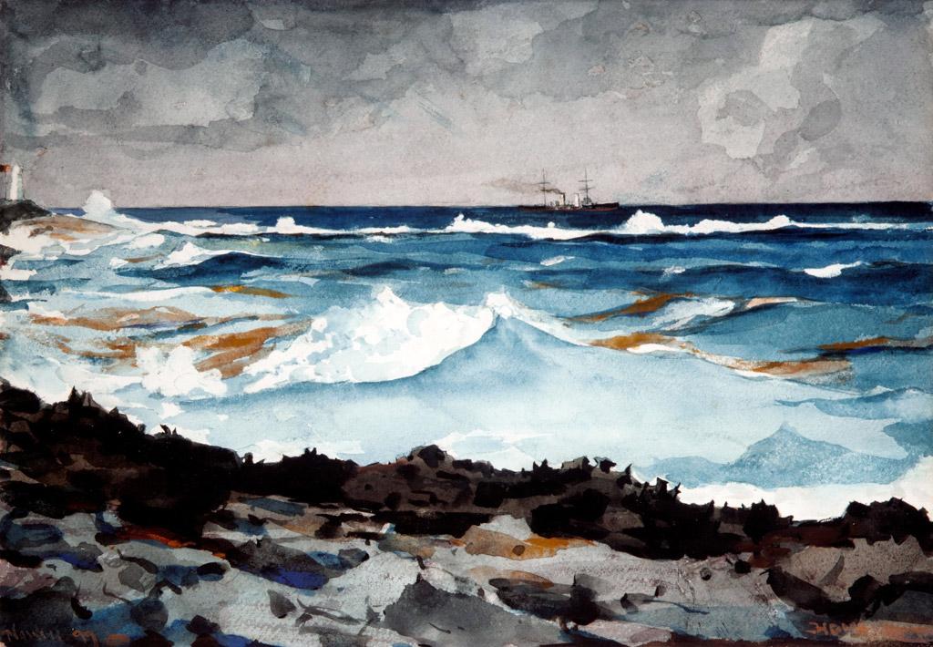 ウィンスロー・ホーマーナッソーの沿岸と打ち寄せる波