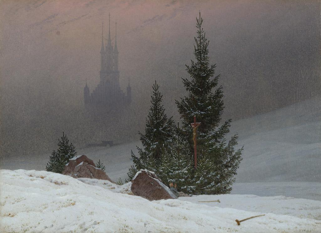 カスパー・ダーヴィト・フリードリヒ教会のある冬の風景