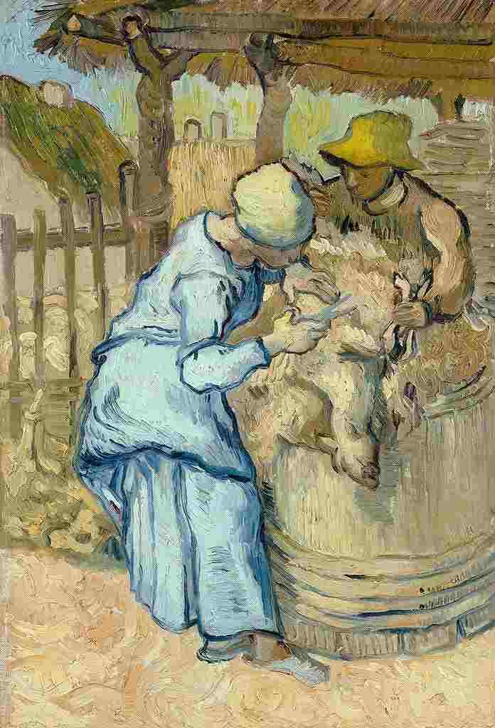 羊の毛を刈る人 (ミレーを模して)