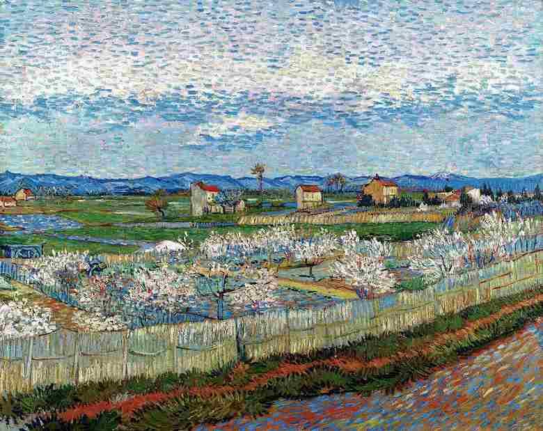 花咲く桃の木々のあるクロー平野