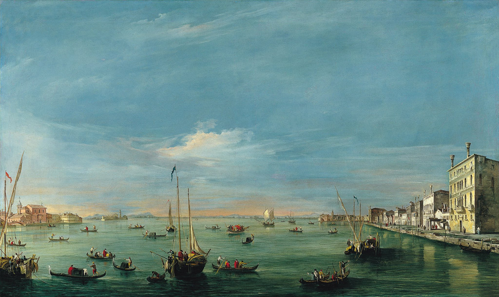 フランチェスコ・グアルディジュデッカ運河とザッテレの眺め