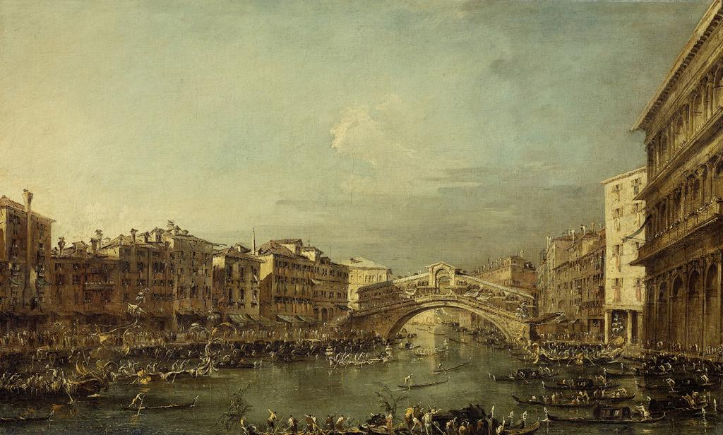 フランチェスコ・グアルディヴェネツィアのリアルト橋のある大運河に浮かぶレガッタ