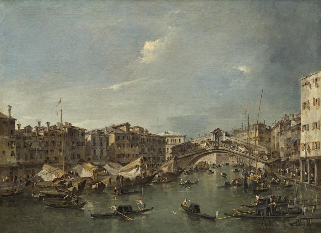 フランチェスコ・グアルディヴェネツィアのリアルト橋の架かる大運河