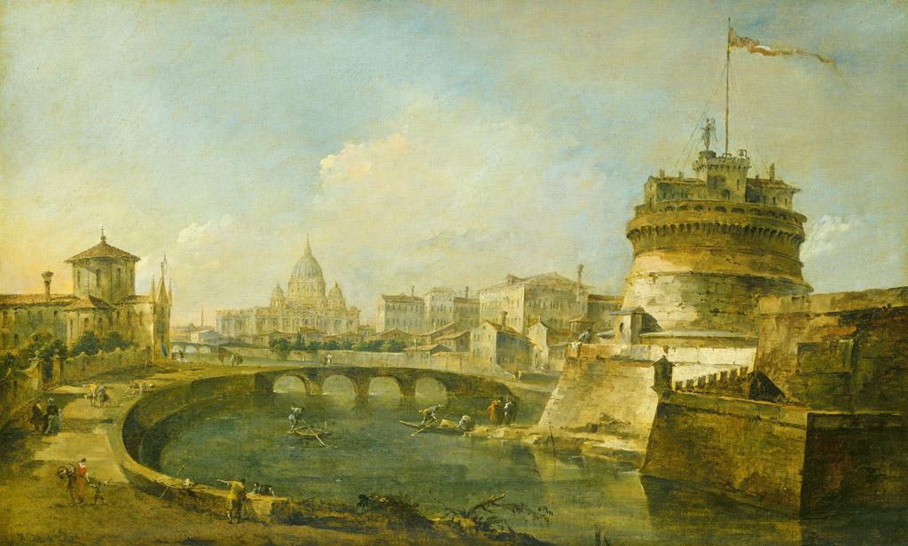 フランチェスコ・グアルディローマのサンタンジェロ城の空想的な眺め