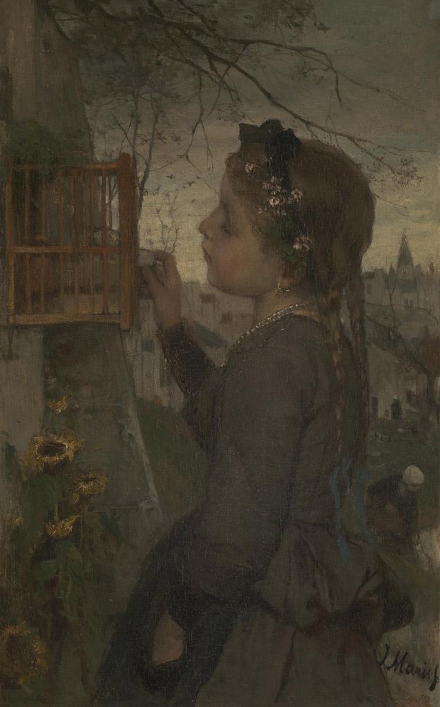 ヤコブ・マリス籠の中の鳥に餌を与える少女