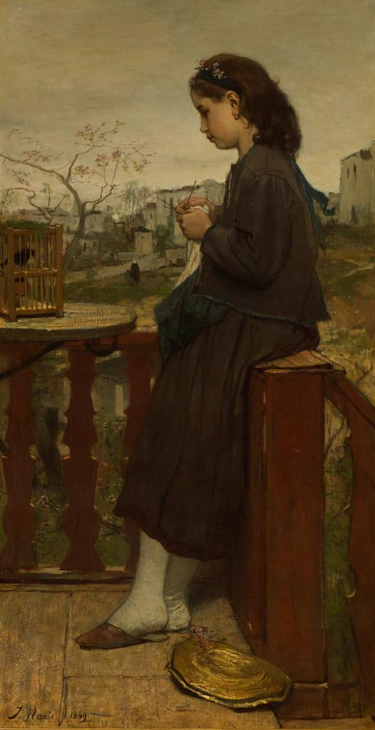 ヤコブ・マリスバルコニーで編み物をする少女、モンマルトル