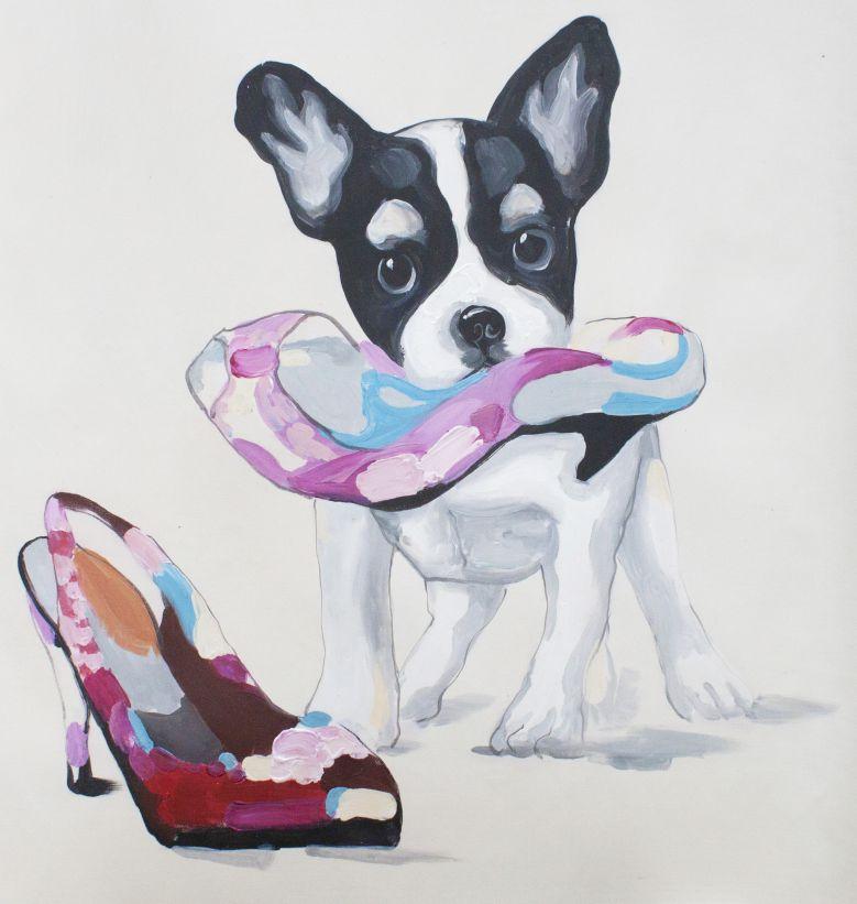 キャンバスアート 靴と犬 直筆オリジナル作品