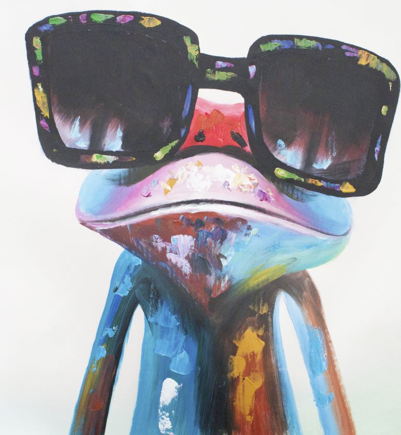 キャンバスアート サングラスをしたカエル 直筆オリジナル作品