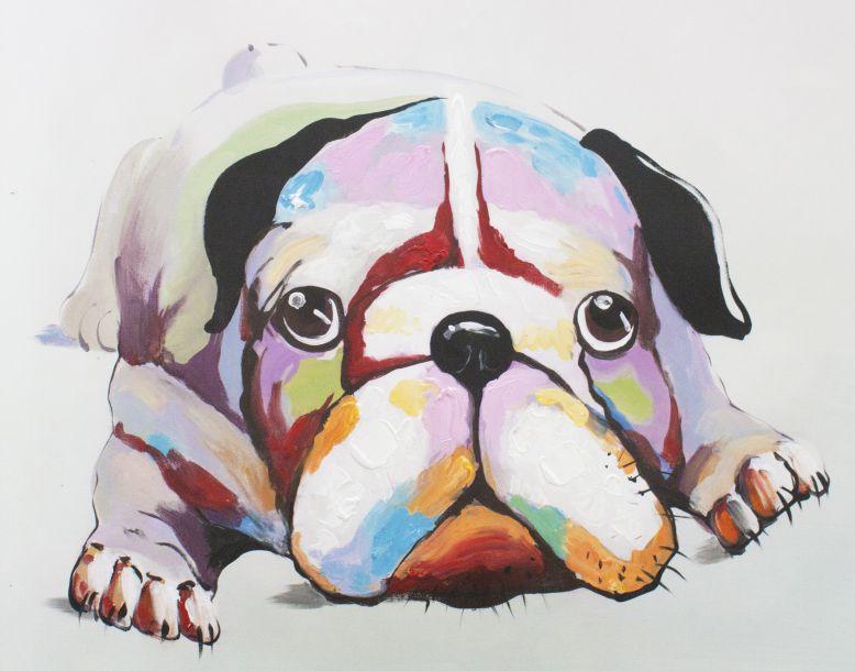 キャンバスアート 寝そべったブルドッグ 直筆オリジナル作品