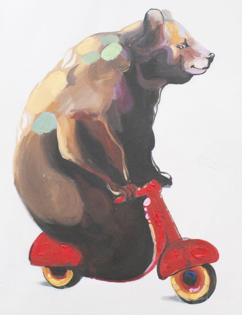 キャンバスアート 自転車に乗る熊 直筆オリジナル作品