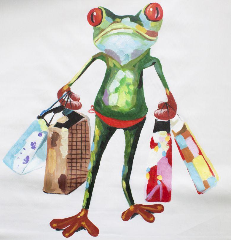 キャンバスアート 買い物するカエル 直筆オリジナル作品