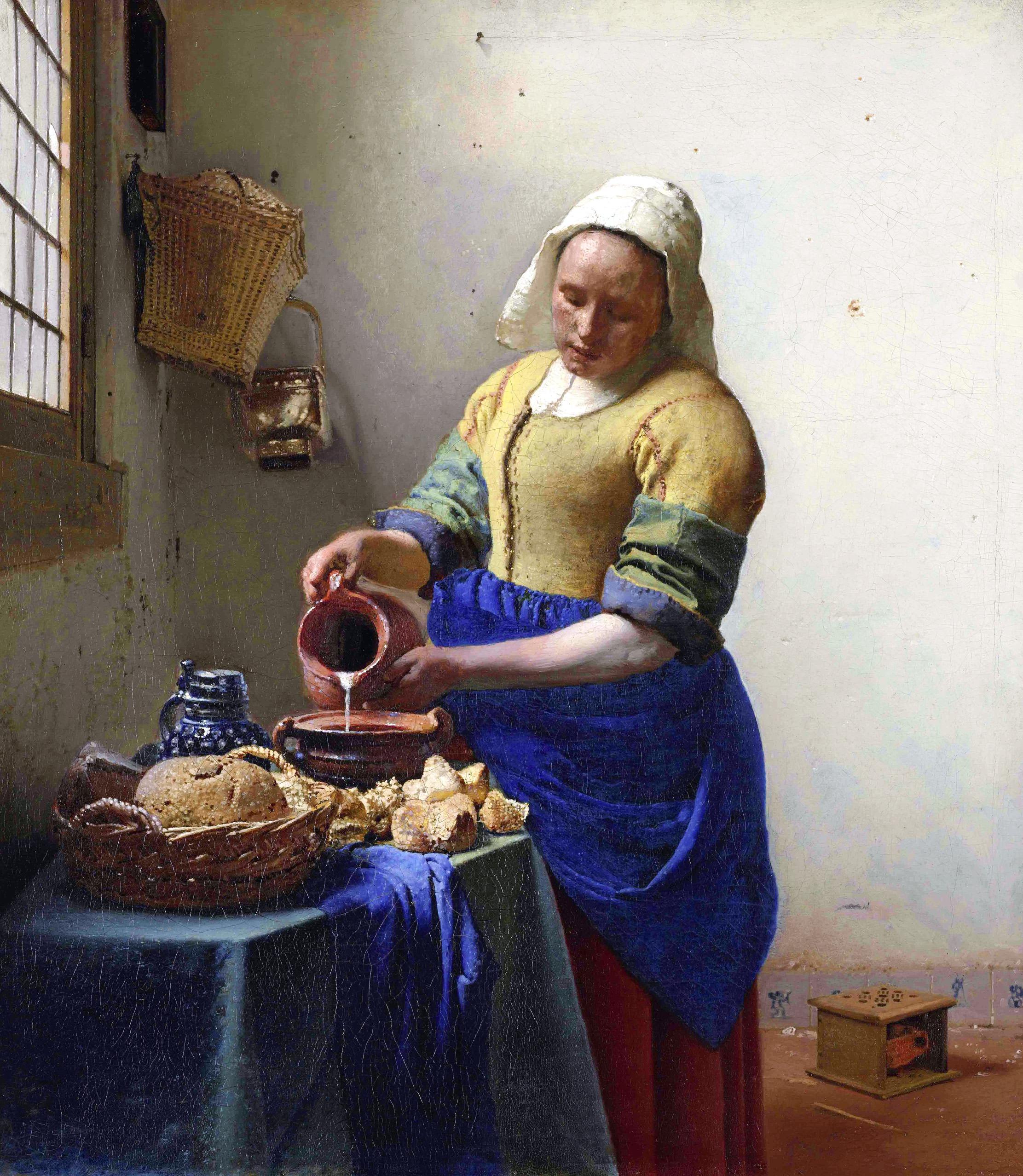 【オーダー油絵】フェルメール牛乳を注ぐ女 【選べるサイズ/選べる額縁付】