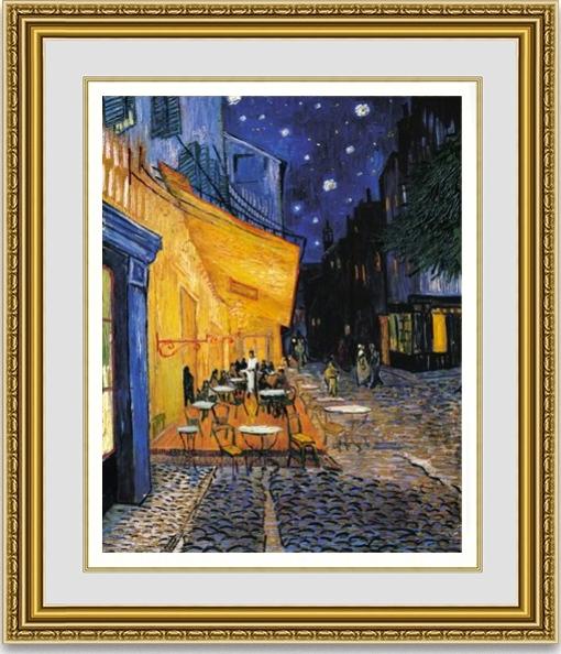 【おすすめ豪華額装】ゴッホ 「夜のカフェテラス」 面金加工ゴールドと麻布マット、UVカットアクリル仕様