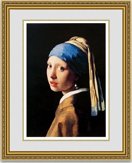 【おすすめ豪華額装】フェルメール「真珠の耳飾りの少女(青いターバンの少女)」  ゴールド面金加工と麻布マット加工仕様