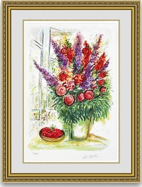 シャガール 「花束とかごの中のさくらんぼ」 額縁付き