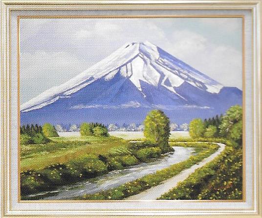 油彩画 丹羽勇富士 F10 額縁付き