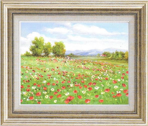 油彩画 アネモネの咲く丘 F6 額縁付き