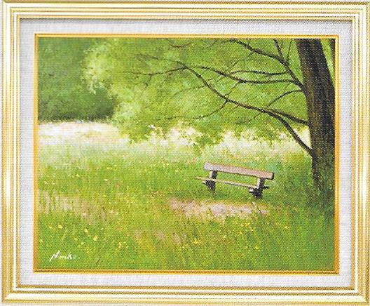 油彩画 こもれ日のベンチ F6 額縁付き