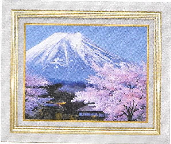 油彩画 加治秀雄里の桜に富士 F10 額縁付き