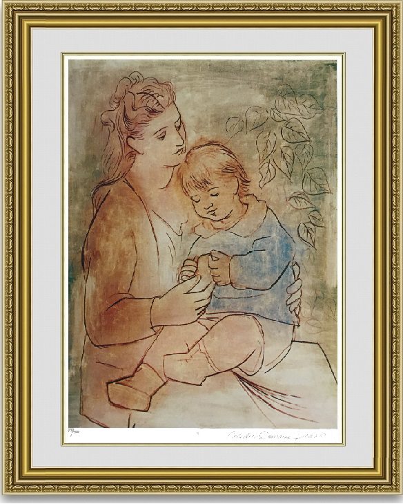 ピカソ 「母と子」 額縁付き