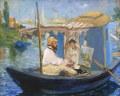 エドゥアール・マネ舟の中のアトリエで制作中のモネ