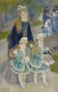 ピエール=オーギュスト・ルノワール子供と散歩する若い母親