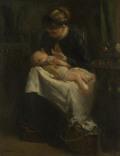 ヤコブ・マリス赤ちゃんに授乳している若い女性