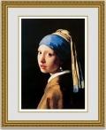 【おすすめ額装】フェルメール「真珠の耳飾りの少女(青いターバンの少女)」  オーダーメイド額縁・ゴールド面金加工付