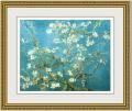 【おすすめ豪華額装】ゴッホ 「花咲くアーモンドの枝」 ゴールド面金加工と麻布マット加工仕様