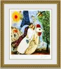 シャガール 「エッフェル塔の花嫁、花婿」 額縁付き