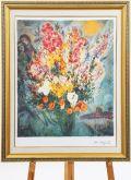 【楽天ランキング1位】豪華額縁仕様 マルクシャガール「天に捧げる花束」 面金加工付 麻布マット仕様 額縁付き