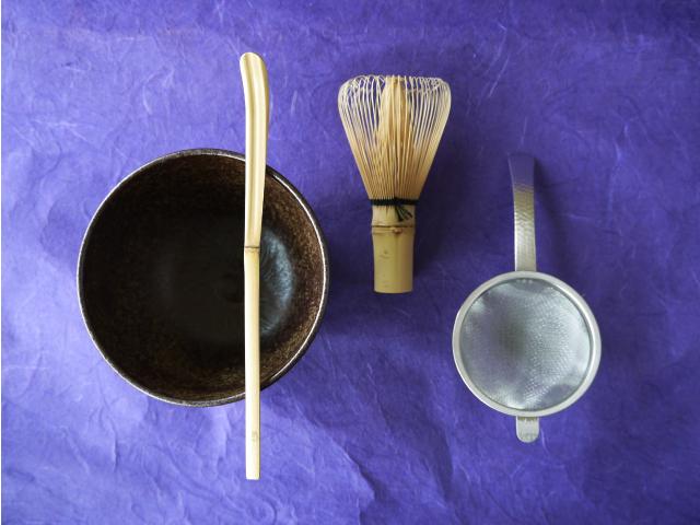 抹茶4点セット 茶碗・茶杓・茶漉し・茶筅