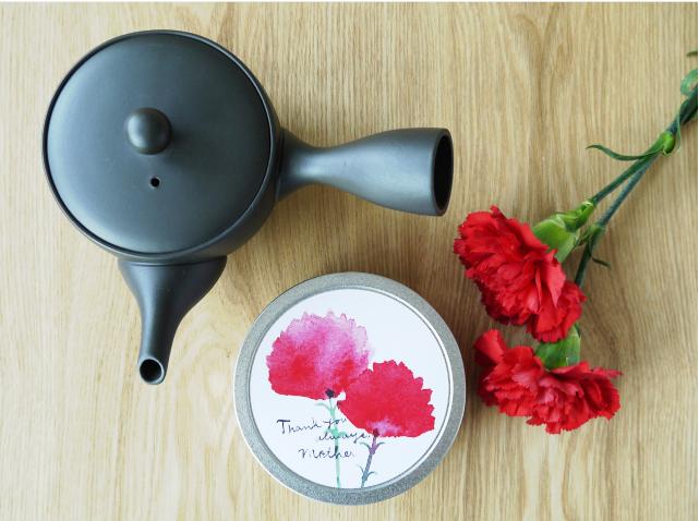 母の日 急須と新茶丸缶