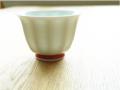 有田焼 白磁赤 面取仙茶椀
